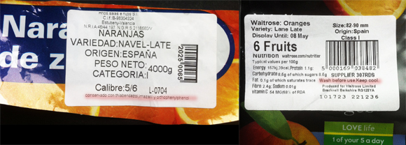 "Cuidado con las naranjas:""Wash before use"""
